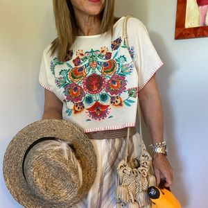 Patrons of Peace Embroidered boho crop size S